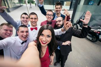 Young business team selfie