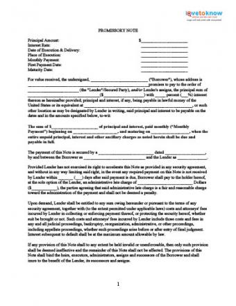 Printable Promissory Note