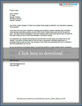 Sample resume letter how to sell yourself