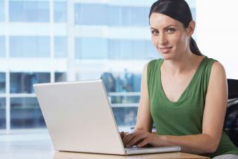 Woman typing memo