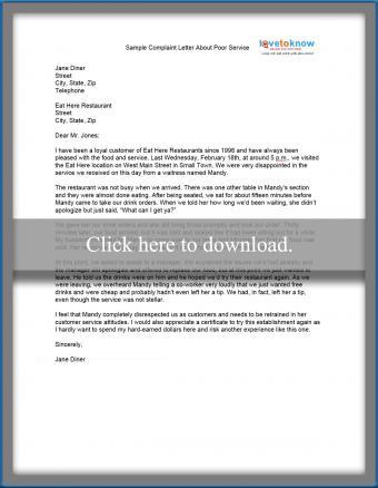sample complaint letter about poor service