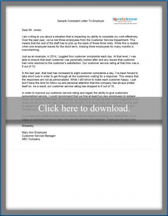 sample complaint letter to an employer