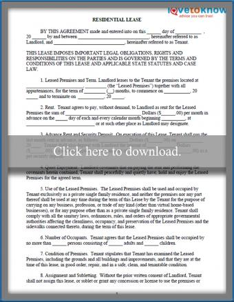 printable Residential Lease
