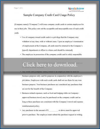 Sample Company Credit Card Usage Policy