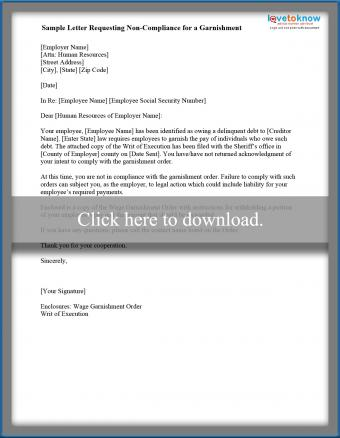 sample letter of garnishment non-compliance to employer