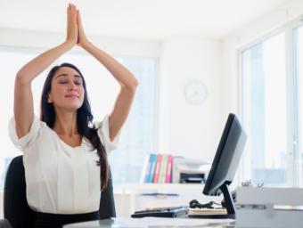meditating at desk