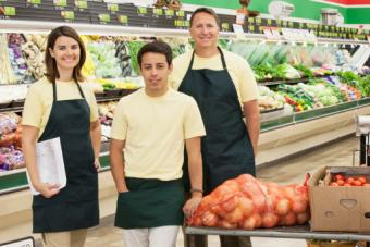 Workers in grocery store
