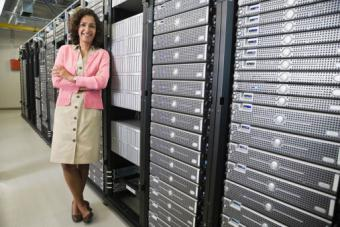 Woman standing in front of servers