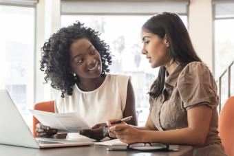 Businesswoman and business consultant reviewing document
