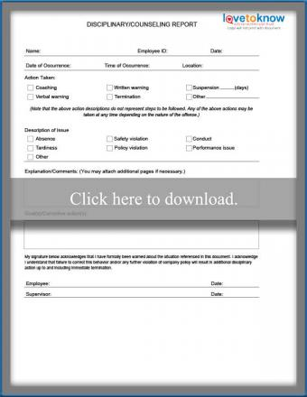Disciplinary counseling form