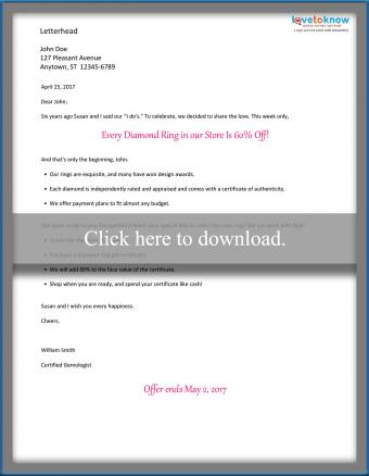 Direct mail product sales letter (consumer)