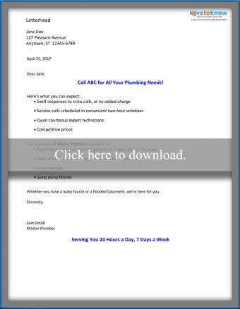 Direct mail service sales letter (consumer)