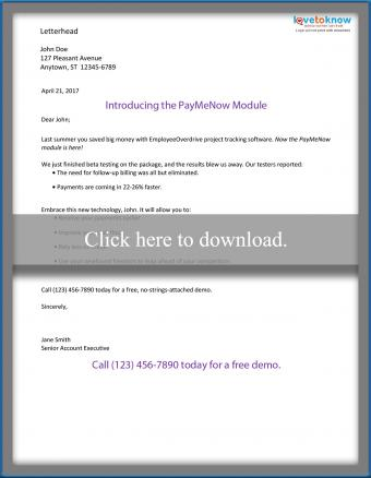 Direct mail product sales letter (business)