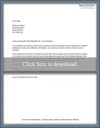 Sample Subscription Cancellation Letter