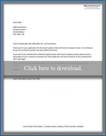 Position Filled Letter Template