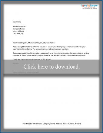 Sample Account Cancellation Letter