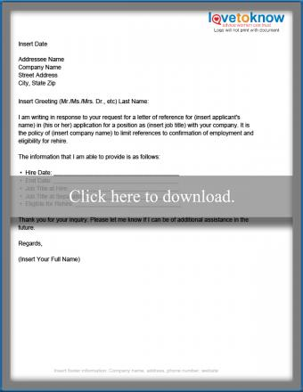 Limited Disclosure Business Reference Letter