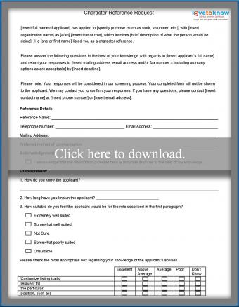 Character Reference Form Template Printable PDF