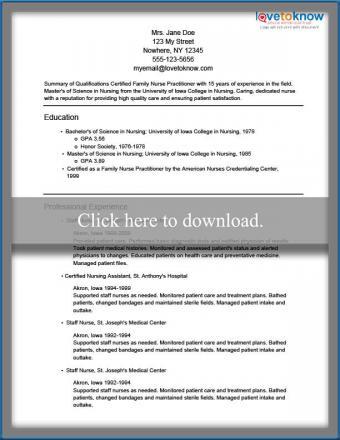nursing resume sample
