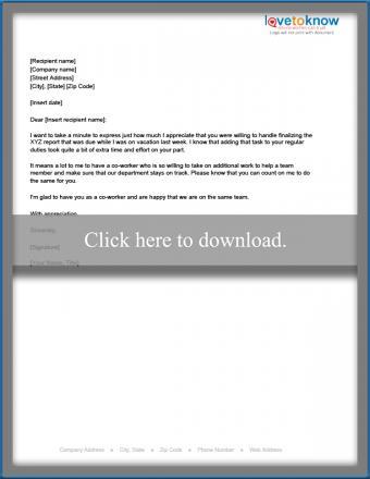 Coworker assistance letter of appreciation