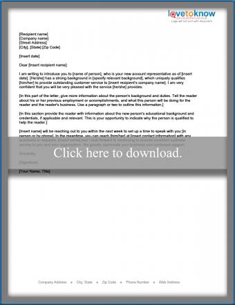 New sales representative introduction letter