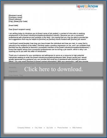 Letter introducing a job seeker