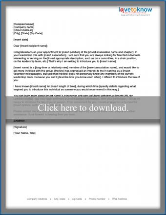 Letter introducing prospective association volunteer