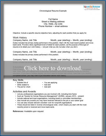 chronological resume example template