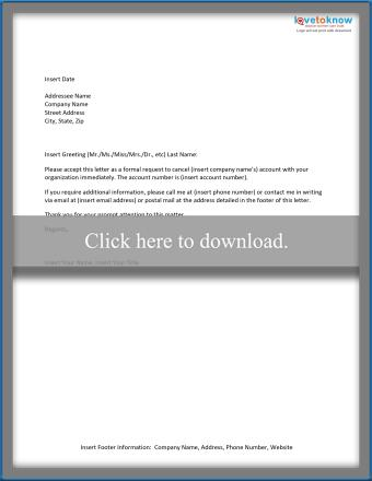 Account cancelation letter template