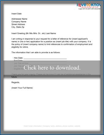 Limited disclosure reference letter