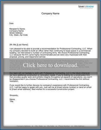 Contractor Recommendation Letter