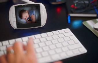 Baby monitor in home office