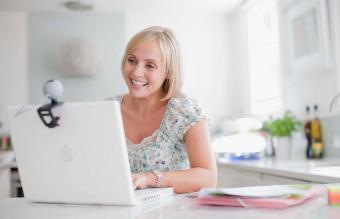 woman enjoying video chat on laptop