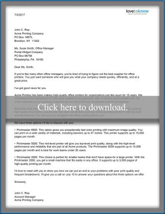 Sales Product proposal letter