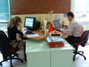 Motivated female and male office workers