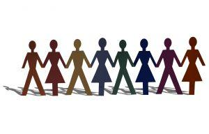 Row of men and women cutouts