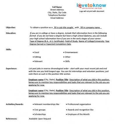 Chronological Resume Template  Resume Fill In The Blank