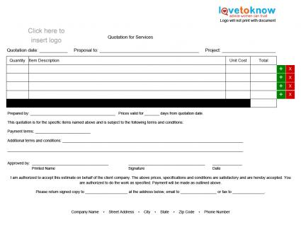 Contractor Quote Form   Landscape Orientation  Free Quote Form Template