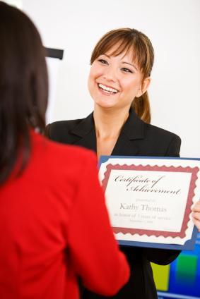 Business woman receiving an award