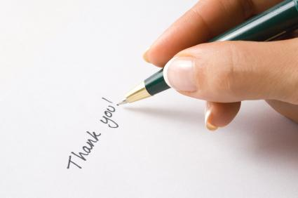 Hand-written thank you note