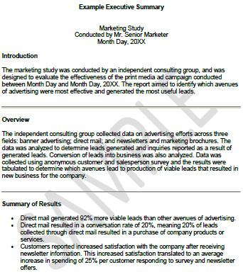 Executive Summary Sample Document  Executive Summary Of A Report Example