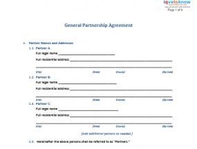 Free Business Contract Free General Partnership Agreement Forms  Lovetoknow