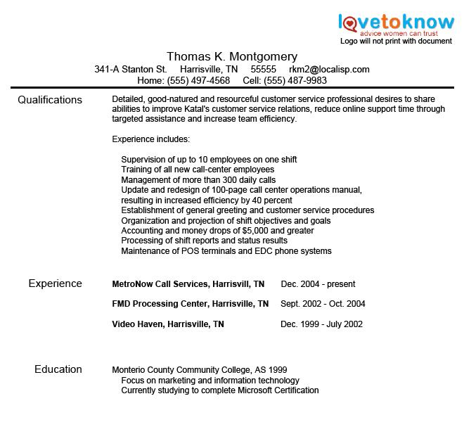 Customer Service Resume Samples LoveToKnow