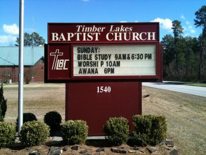 Baptist church sign