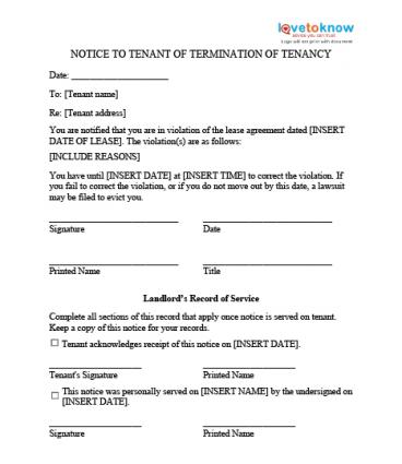 Notice To Quit  Eviction Letter Templates