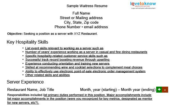 sample waitress resume - Resume For Waitress Skills