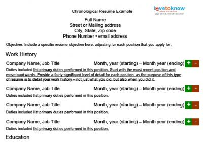 chronological resume example