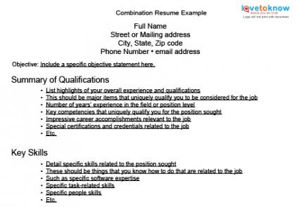 Combination Resume Example  Resume Outlines Examples