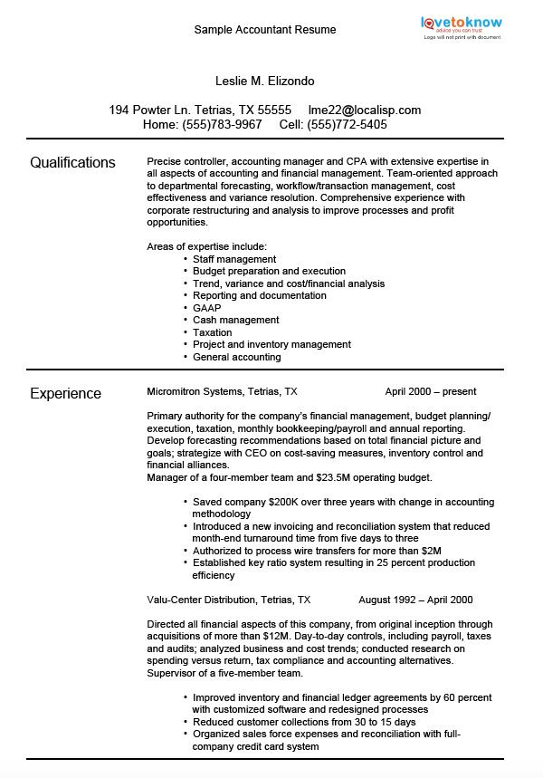 Sample Accountant Resume  Example Of Accounting Resume