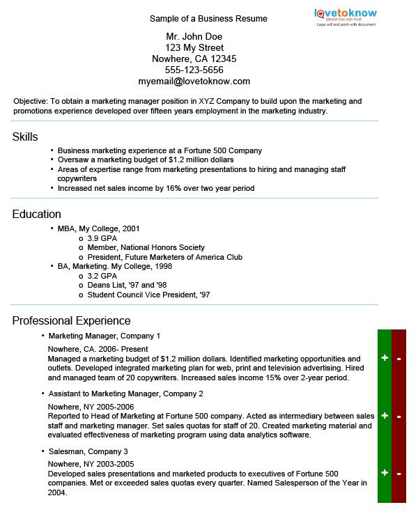 Sample Of A Business Resume  Business Skills Resume